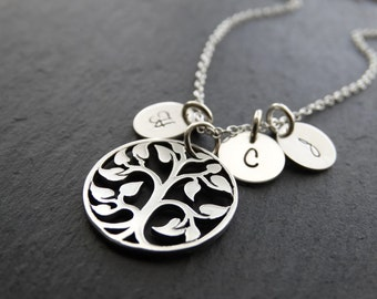 Family Tree Necklace Personalized Jewelry  Gifts for Mom Gift Initial Necklace Tree of life necklace Sterling silver Necklace