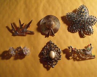 vintage brooch lot of 6