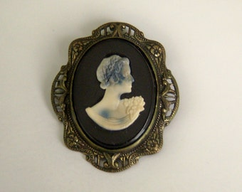 Cameo Brooch Pendant. Old Black Cameo. Dual Use Jewelry.