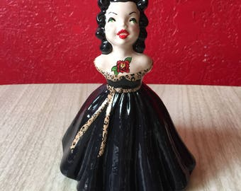 Tattooed Ceramic Cutie ~ ReVamped Vintage One Off ~ Ready to Ship!