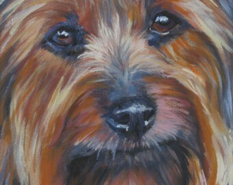 Silky Terrier dog art CANVAS print of LA Shepard painting 12x12 dog portrait