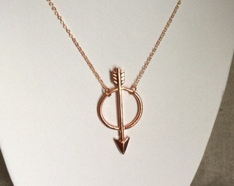 Rose gold jewelry, Arrow Necklace, rose gold arrow