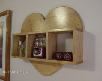 Wall shelf, wall shelves, heart shelf, knick knack shelf, decorative shelf, wall decor, solid Maple