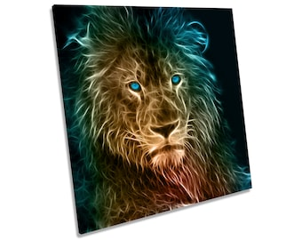 Lion Abstract CANVAS WALL ART Square Print