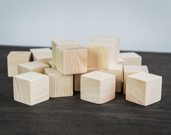 20 pieces of Wooden cubes. Kid toys. Wood blocks. Available costum order. unfinished wood blocks. Solid Wood Blocks. Natural Wood Blocks