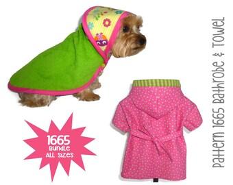 Dog Bathrobe and Towel Pattern 1665 * Dog PJs * Dog Robe * Dog Kimono * Dog Towel * Dog Pajamas * Dog Clothes * Bundle All Sizes