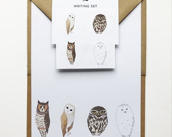 owl writing set, bird stationery set, owl gift, recycled eco friendly stationery, owl stickers, bird gift, owl print, barn owl, snowy owl