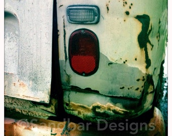 4 x 4 photo card-Rusted VW bus