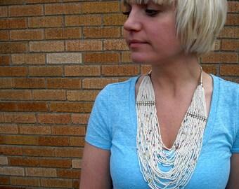 Boho Statement Necklace Vintage Southwest 1970s Bib Style White Multi Strand Summer Jewlery Necklace