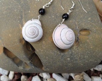 Snail Shell Earrings - Earth Magick - Protection Energy - Pagan - Tribal - Witchcraft - Woods Witch - Forest Magick - Shell Jewelry