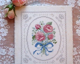 Roses Needlework, Roses Wall Hanging, Needlework of Roses on Canvas, Romantic Home, by mailordervintage on etsy