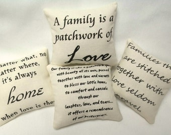 Family And Home Sayings Set Of Mini Pillows, Inspirational, Bowl Fillers, Pillow Tucks