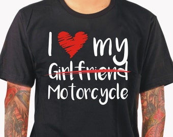 I love my motorcycle shirt motorcycle bike Bikershirt bike ride rider fun Present Gift father's day Christmas fun shirt textile printing