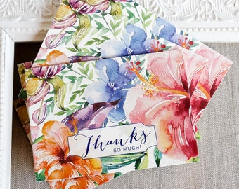tropical hibiscus thank you notes - watercolor floral thank you note card set - wedding thanks