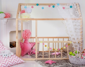 Toddler house bed House bed Montessori bed Wooden house bed Wood house bed  Wood nursery  Kids teepee bed Wood bed frame Nursery bed house