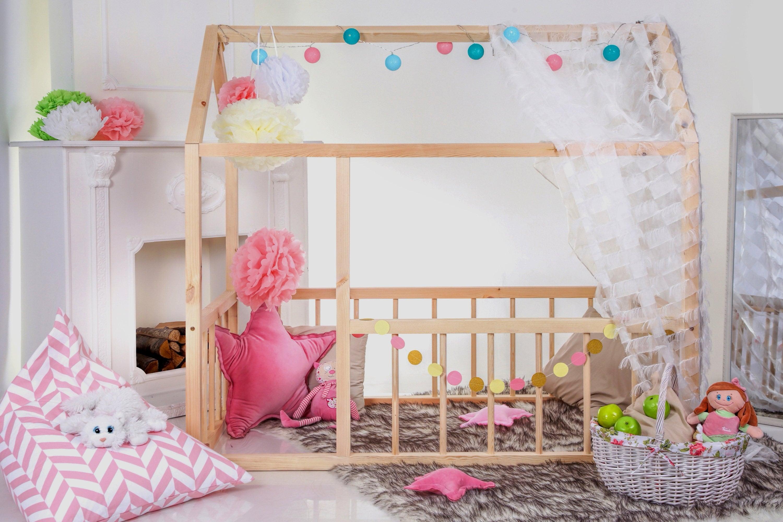 Kleinkind-Haus-Bett Haus Montessori Bett Holzhaus Bett Holz