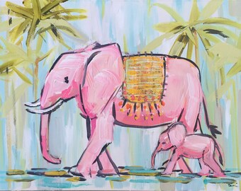 Elephant Print Elephant love Elephant decor Elephant art Baby nursery decor pink elephant baby elephant