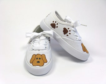Puppy Dog Shoes with Paw Prints, Animal Theme Birthday Party, Canvas Sneakers Hand Painted for Baby and Toddlers