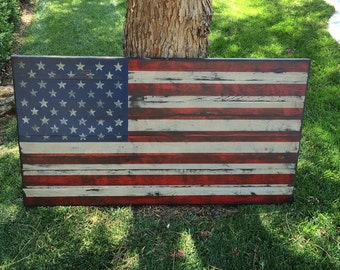 Distressed American Flag, Distressed Wood, USA, Rustic Wall Art
