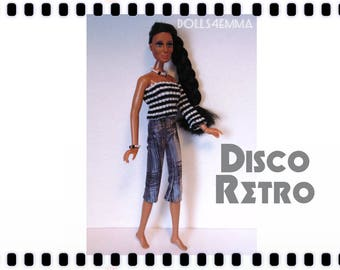 CHER Doll Clothes - DISCO RETRO Top, Capris and Jewelry - fits vintage Mego Farrah, Tennille - Custom Fashion - by dolls4emma