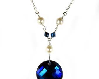 925 Sterling Silver Swarovski® Bermuda Blue & Pearl Necklace #2137