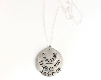 Handstamped Personalized Pendant, Pendant Necklace, Mothers Pendant Necklace