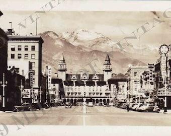 Original 1939 Photograph of downtown Colorado Springs, Colorado, Ute Movie Theatre