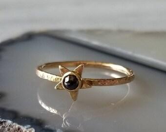 Unique 14k gold rose cut black diamond star ring, talisman ring, size 6.5