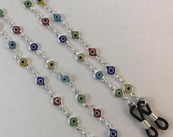 Evil Eye Eyeglass Chain, Multicolor Eyeglass Chain, Reading Glasses Holder, Eyeglass Necklace, Eyeglass Leash,  Sunglasses Holder