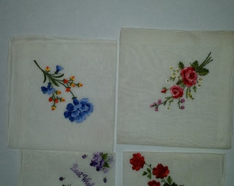 Vintage Handkerchiefs Collection of 4 Cotton Floral embroidered hankies 1950's