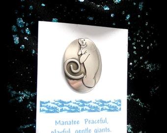 Manatee pin- Florida manatee-nature jewelry- gifts ideas- handmade pin manatee, handmade gift, moon heart studios, spiral jewelry
