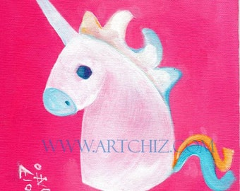 Pink Unicorn Art.  Illustration. Strawberry. Pink. Nusery. Kids Art Print. Baby Shower Gift.  Baby Unicorn. Children's illustration, Poster
