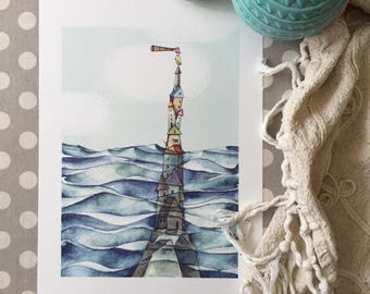 """Submerged houses - Watercolour illustration, from the """"Little houses"""" series, by Elisa Ansuini"""