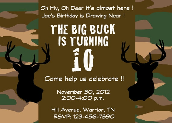 Items Similar To Deer Hunting Camo Party Invitation On Etsy