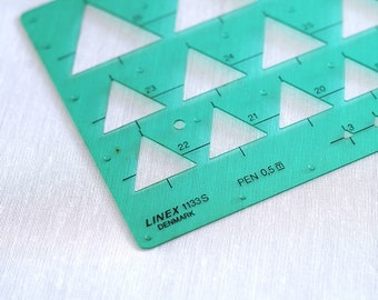 Stencil - drafting, architect, engineer, draftsmen. Triangle technical stencil. Retro shape guide graphic template by Linex. Made in Denmark