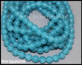 SAMPLE 3 Beads 6mm AQUAMARINE Gemstone Bead - Round Natural Dyed Gemstone Semi Precious Beads - Instant Shipping - DIY Jewelry Usa - 6957
