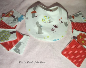 Cotton and Terry baby bib printed Hedgehog and rabbit