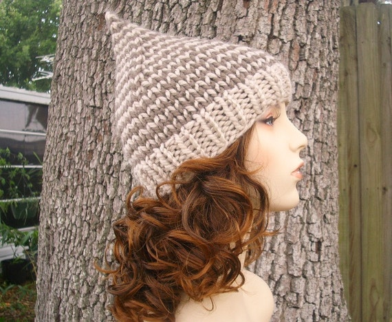 Knit Hat Womens Hat - Gnome Hat in Dueling Neutrals Knit Hat - Taupe Gnome Hat Taupe Beanie Taupe Hat Womens Accessories Winter Hat