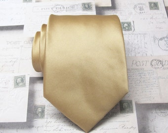 """Gold Mens Tie With *FREE"""" Matching Pocket Square Dusty Gold Mens Necktie Pocket Square Set"""