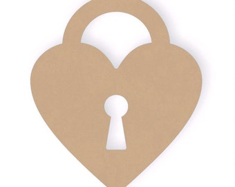 12 Inch Wooden Heart lock Craft Cutout Shape - Unfinished MDF
