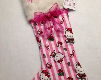 Pink & White striped flannel Christmas stocking, soft, pretty!