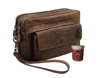 Men's wrist bag SCHLUETER made of brown buffalo leather