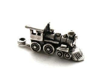 Train Engine Bracelet Charm Sterling Silver Steam Locomotive