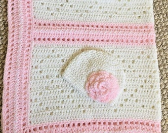 Baby girl crochet pink and white blanket with hat