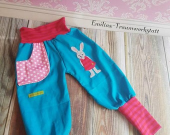 Bunny bloomers cord Trousers Turquoise pink, children's trousers, marigold, Babycord, bloomers, trousers, red, pink, hare Girl