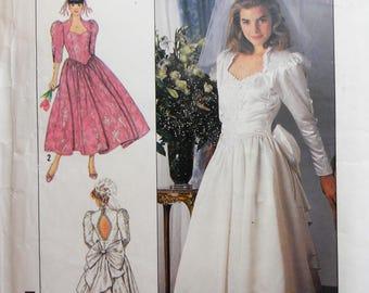 Simplicity 9505. Jessica McClintock wedding dress pattern. Vintage 1989 bridal gown pattern. Jessica McClintock bridesmaid dress.  Sz 8-14.