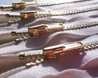 Brass Zippers- YKK metal teeth zips- (5) pieces - White 501- Available in 5,6,7,8,9,12,14,16 and 18 Inch