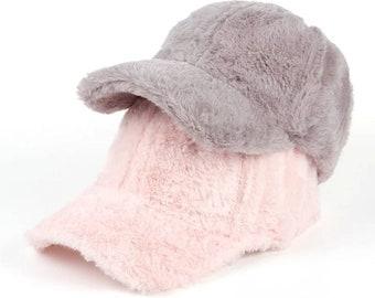 Fluffy Baseball Cap - Peak adjustable Cap hipster trucker snapback fuzzy pom pom soft pink brown