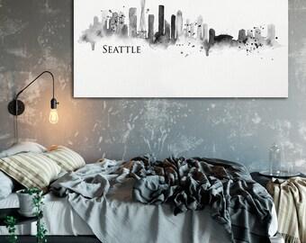 Seattle Skyline Printable, Black and White Printable, Watercolor Seattle Art, Digital Download, Seattle Washington Black and White Printable