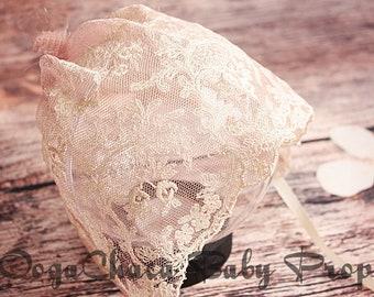 20%OFF* Newborn Bonnet, Newborn Girl Bonnet, Baby Girl Bonnet, Newborn Photo Prop, Baby Photo Prop, Lace Bonnet, Pink Bonnet, Sewn Bonnet